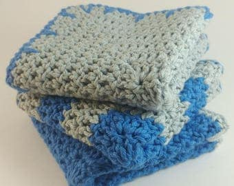 Crochet Washcloths / Cotton Washcloths / Crochet Dishcloths / Cotton Dishcloths / Blue and Gray Crochet Cloths