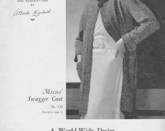 1934 Misses Swagger Coat