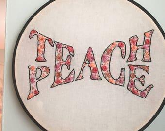 Teach Peace Hand Embroidered Wall Art