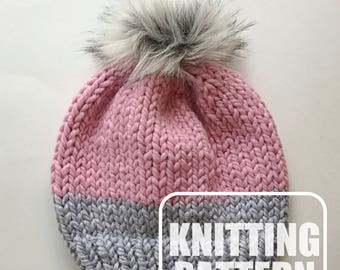 Knitting Patterns For Hats Double Knitting : Knit hat pattern Etsy