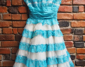 Women's 80s Betsey Johnson Turquoise Blue And White Mesh And Lace Strapless Evening Gown Dress With Big Bow Size XS Small