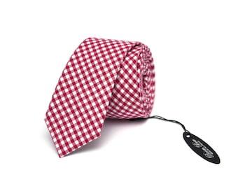 Maroon plaid Tie Men's skinny tie Wedding Ties Necktie for Men 127tc