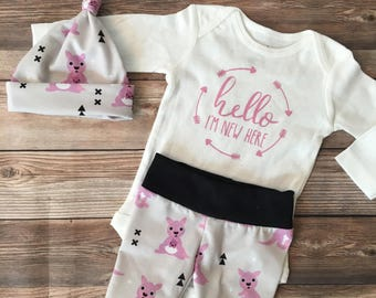 Baby Kangaroo Coming Home outfit, Joey, Kangaroo, Australia, outback, going home outfit, baby girl outfit, newborn,newborn set, I'm new here