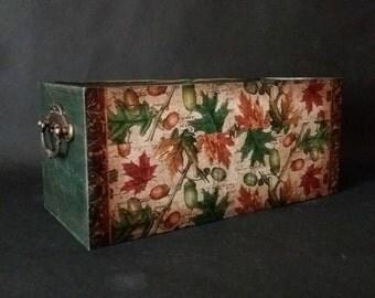 rustic storage box custom wood box wooden storage box decoupage box utensil holder distressed box rustic box wood craft box rustic decor