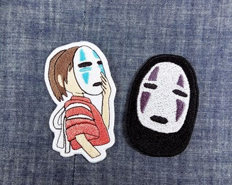 Super Rare Combo Set Spirited Away - No-Face Ghost + Chihiro with No-Face Ghost Mask on - Iron on Patch