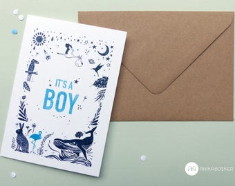Baby BOY folded postcard
