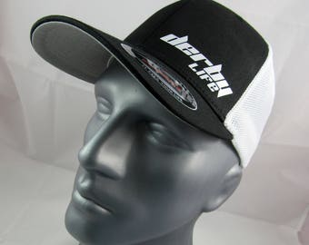 Derby Life custom flex-fit fitted trucker hat, demolition derby cap, racing cap, racing hat, wreck this, demo life, demolition derby hat