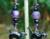 Black cat charm, Halloween earrings, with black and purple crystals