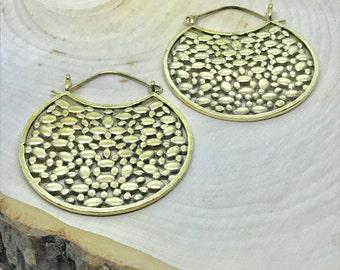 Brass Hoops Earrings, Geometric Earrings, Boho, Tribal