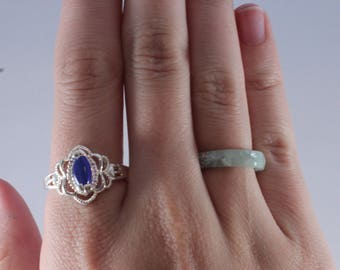 925 Sterling Silver Blue Glass Ring Size 9.25