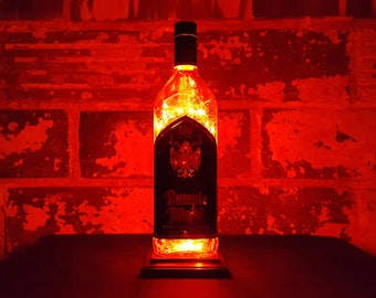 Rumple Minze Bottle Lamp. Recycled Liquor Bottle Lamp. Red LED Lights. Man Cave / Office / Bar / Kitchen
