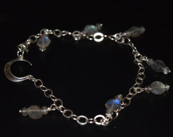 Flashy Labradorite Bracelet with Crescent Moon~ Unique Gift Ideas For Her~ Sterling Silver Dangle Bracelets