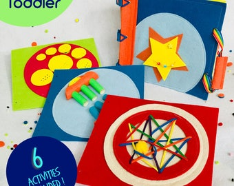 Quiet Book for 2 Year Old Boys ~ Starter Set includes 6 Activities - Personalized Cover ~ Montessori Educational Toy ~ Best Birthday Gift
