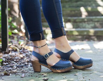 Swedish Clogs Highwood Navy Brown Base Sole Leather by Lotta from Stockholm / Wooden Clogs / Summer Sandals / High Heel Shoes /
