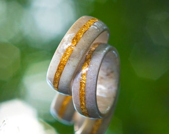 Wedding band Set // 2 Antler and Gold flake rings,  Antler wedding band, Couples rings, natural ring, Mens wedding band