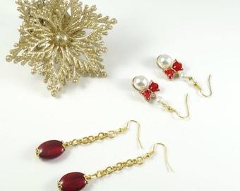 Gold Christmas Earrings / Gold Earrings / Long Earrings / Red Earrings / Crystal Earrings / Pearl Earrings/ Bow Earrings Cool Christmas Gift
