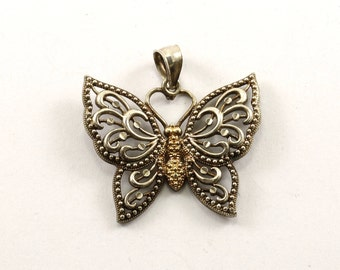Vintage Two Toned Filigree Butterfly Pendant 925 Sterling PD 346