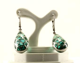 Vintage Blue Stone  Flower Dangle Earrings 925 Sterling Silver ER 881