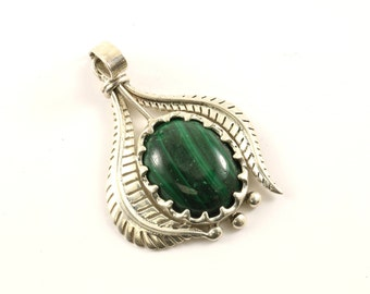 Vintage Green Malachite Pendant 925 Sterling Silver PD 1278