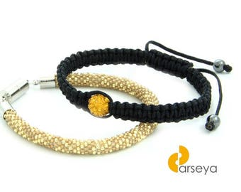 Shamballa bracelet, macrame beaded bracelet, crochet rope, bead crochet, beadwork bracelet, crochet with beads, geometric pattern, toho