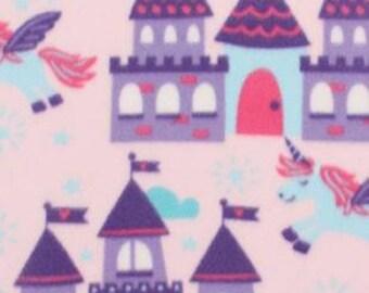 Unicorns And Castles Printed Fleece Tied Blanket
