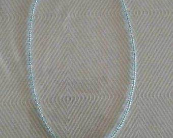 Turquoise sea glass pendant on 16 1/2 beaded choker necklace,guinuine ocean tumbled turquoise sea glass choker necklace,turquoise sea glass