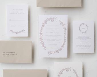 """Handmade Paper Botanical Wreath Invitation Suite / """"Laura"""" Suite"""