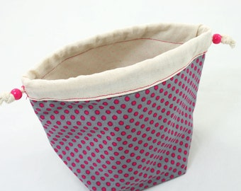 Cream-pink-gray drawstring  project bag