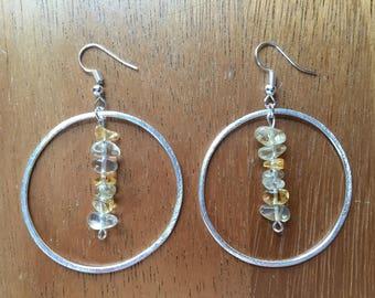Citrine Hoop Earrings - Dangle Chip Crystal