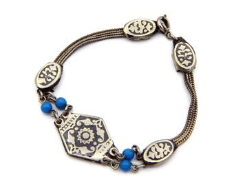 900 Silver Bracelet, Braided Chain And Blue Beads, Niello Wheat Chain, Antique 1920s Bracelet, Victorian Jewelry, Black Enamel And Sterling