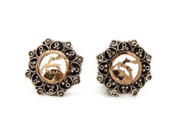 Reindeer Earrings, Two Colors Earrings, Antique 1910s Jewelry, Victorian Period Jewelry, Rose Gold Earrings, Fallow Deer Jewelry, Art Deco
