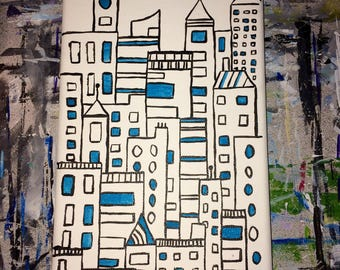 Skyline - buildings - urbain landscape - black and white
