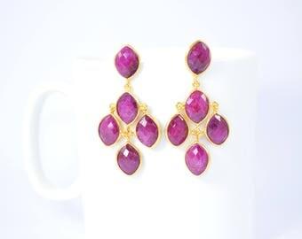 Ruby stud ,chandelier stud,pink color stud, natural gemstone stud,gold plating stud,July birthstone stud,marquise stud,