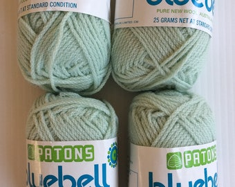 Vintage Patons Bluebell pure new wool - pale mint green shade - 4 x 25 gram balls
