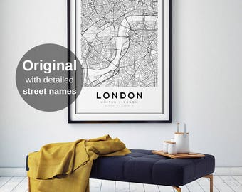 London Map Print, London City, London Map Poster, United Kingdom, City Map Print, Black and White Map, UK, England Print