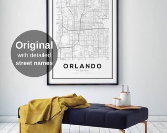 Orlando Map Print, Florida City Map, FL Map Print, Orlando City, Map Wall Art, Digital Map Print, Black and White Map, United States Maps