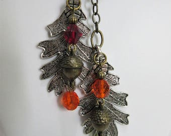 """Oak leaf pendants, acorns autumn fall colors multi mixed colors, red orange brown green brass, 24"""" necklace set with 1.75"""" earrings, 10-36"""