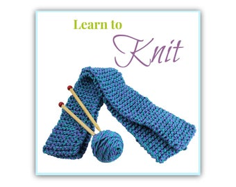 Learn to Knit, School Knitting Kit, Children discover knitting, Knitting Kit, DIY Scarf for Children, Knitting Tutorial, Incl. Instructions