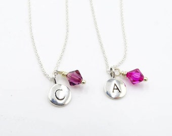 Initial necklace Initial birthstone necklace Bridesmaids necklace Graduation Gift for bridesmaids birthstone initial silver initial