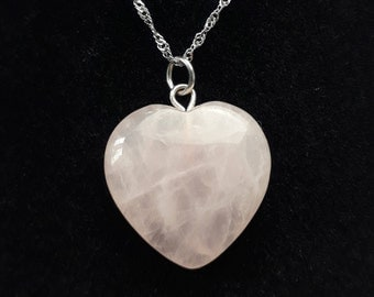 Reiki Charged Rose Quartz Crystal Heart Pendant with 925 Silver Chain