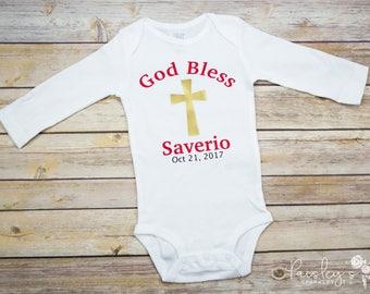 Personalized God Bless - Baptism Bodysuit - Baptized - Christening - Baby Baptism bodysuit - Christened - Blessed - Date