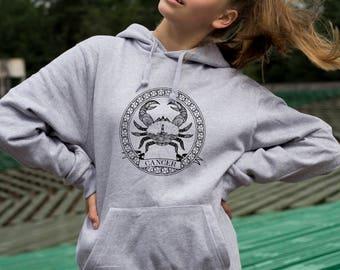 Screen printed Cancer zodiac hoodie