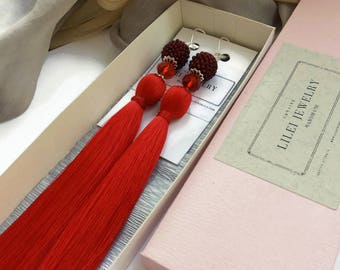 Wife Statement Gift Tassel Earrings Long Red Fringe earrings Seed bead Jewelry tassel her Custom tassel gift Wife Christmas tassel gift girl