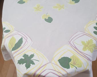 Vintage Tablecloth Colorful Leaf Pattern -Grey, Yellow, Green, and White