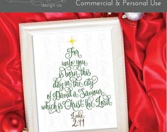 Christmas Tree Svg - Christian Christmas Svg - Christmas Svg Files for Silhouette - Luke 2:11 - Jesus Christmas Svg File - Png Eps Dxf