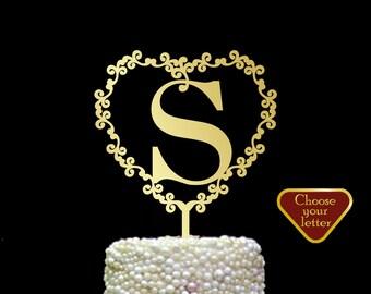 Monogram Wedding Cake Topper, Letter Cake Topper, Initials Wedding Cake Topper, Gold Monogram Cake Topper , s cake topper letter, CT#194