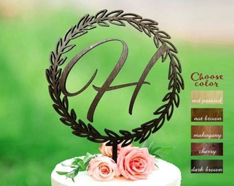 Letter H Cake Toppers For Wedding Topper Wreath Initial