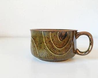 Vintage Speckled Stoneware Wide Mug + Cozy Latte Tea Cup + Green Brown Glaze + Soup Bowl Handle + Southwest Kitchen + Natural Decor