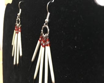 Red and White Porcupine Quill Earrings