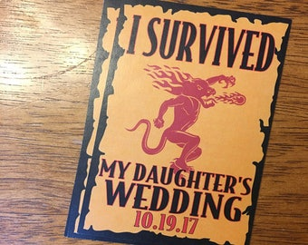 I Survived My Daughter's / Son's Wedding Fireball Labels - Gifts for Parents - Wedding Gifts - Liquor Labels - Wedding Favors - Funny